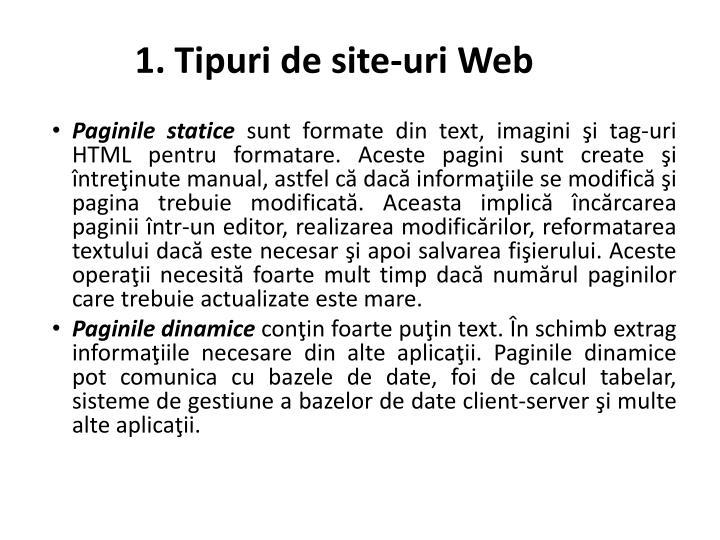 1. Tipuri de site-uri Web