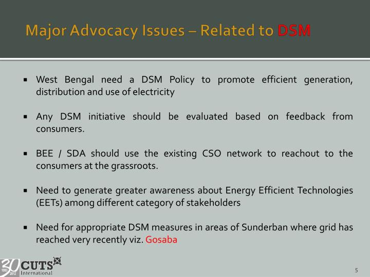 Major Advocacy Issues – Related to