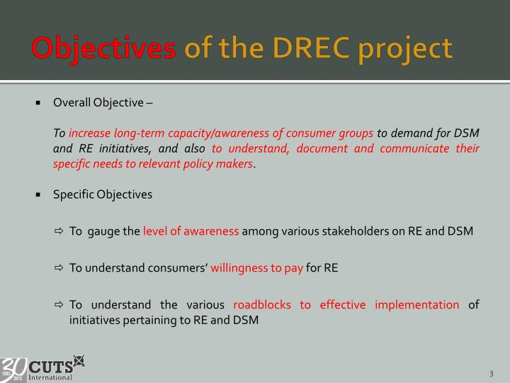 Objectives of the drec project