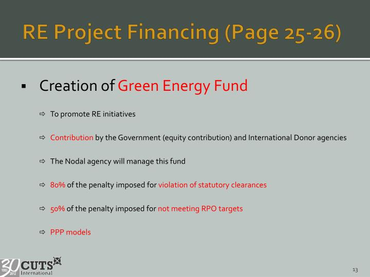 RE Project Financing (Page 25-26)
