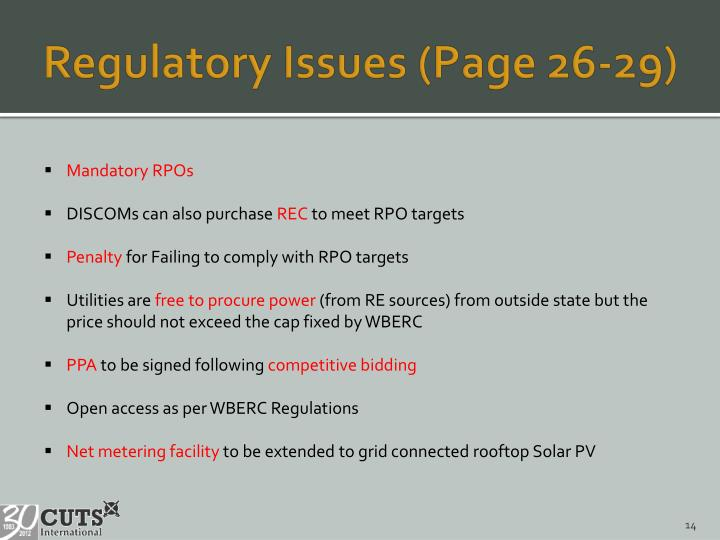 Regulatory Issues (Page 26-29