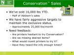 conservation sales