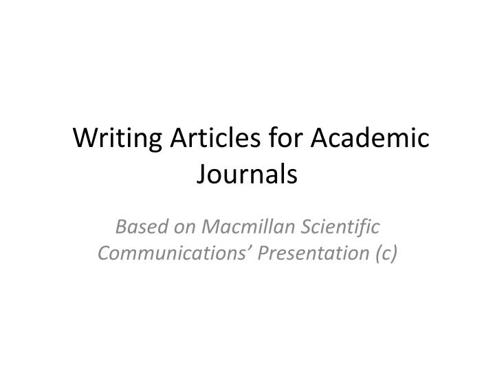 writing articles for academic journals n.