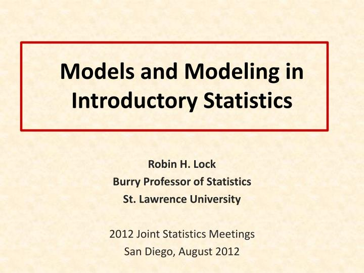 models and modeling in introductory statistics n.