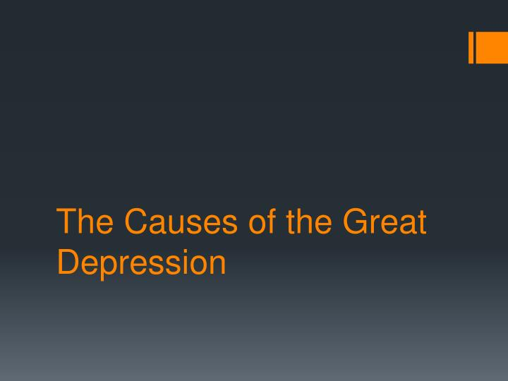 the causes of the great depression n.
