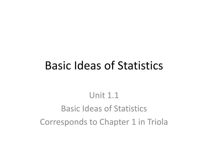 basic ideas of statistics n.