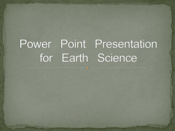 power point presentation for earth science n.