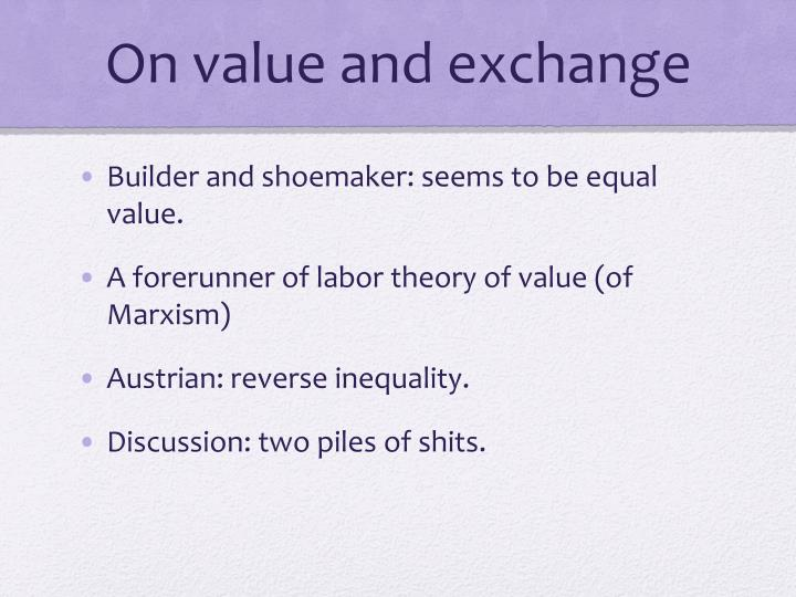 On value and exchange