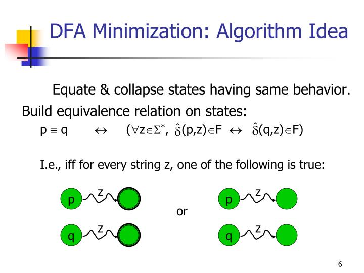 Build equivalence relation on states: