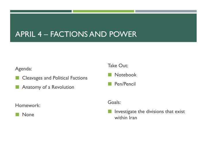 april 4 factions and power n.