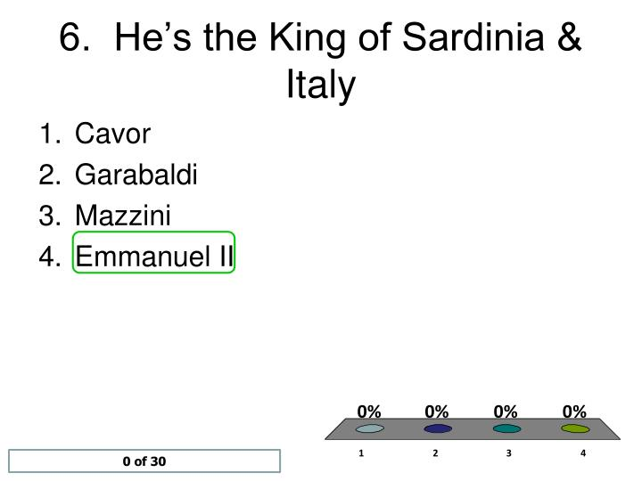 6.  He's the King of Sardinia & Italy