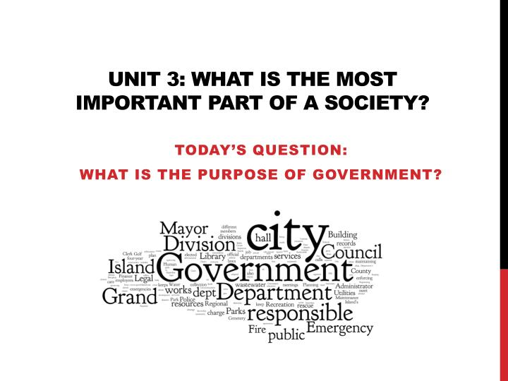 unit 3 what is the most important part of a society n.