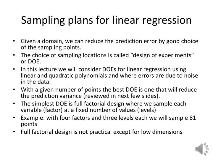 sampling plans for linear regression n.