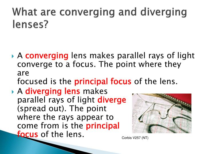 What are converging and diverging lenses?