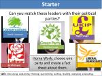 can you match these leaders with their political parties