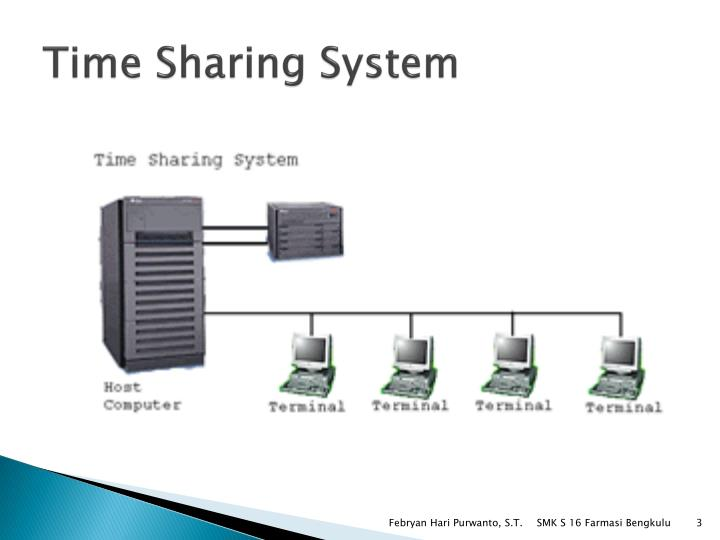 timesharing Timesharing [now primarily historical] timesharing is the technique of scheduling a computer's time so that they are shared across multiple tasks and multiple users, with each user having the illusion that his or her computation is going on continuously.