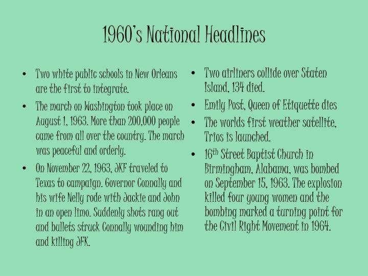1960's National Headlines