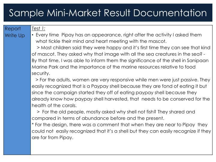 Sample mini market result documentation