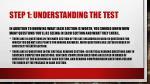 step 1 understanding the test1