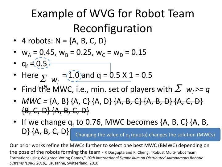 Example of WVG for Robot Team Reconfiguration