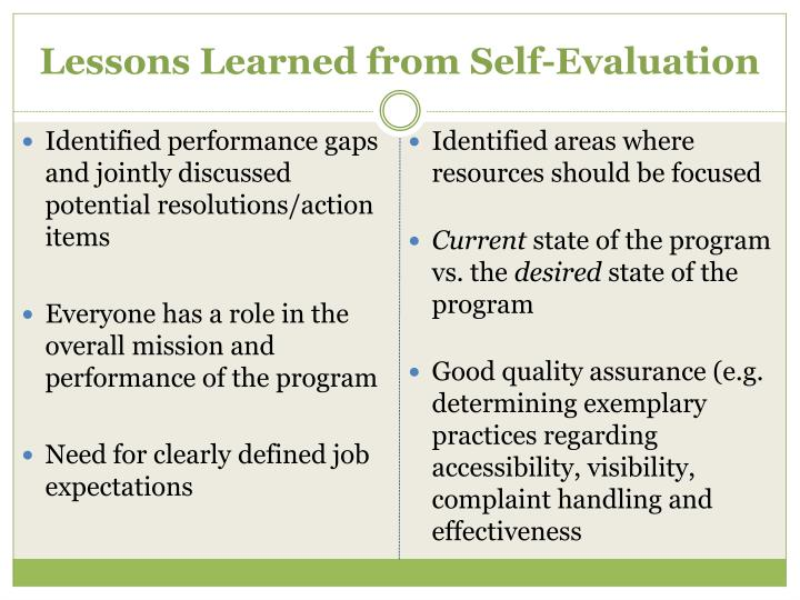 Lessons Learned from Self-Evaluation