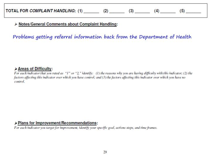Problems getting referral information back from the Department of Health