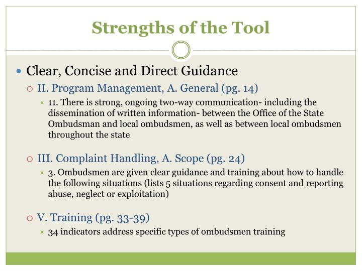 Strengths of the Tool