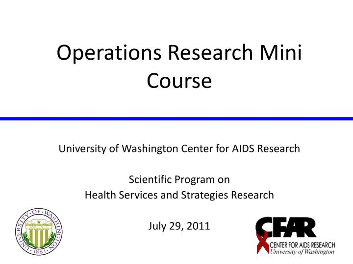 operations research mini course n.