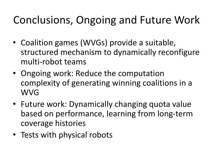 Conclusions, Ongoing and Future Work
