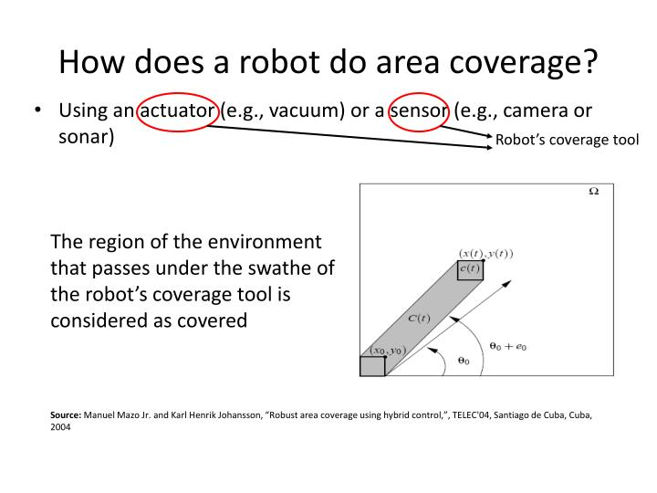 How does a robot do area coverage?