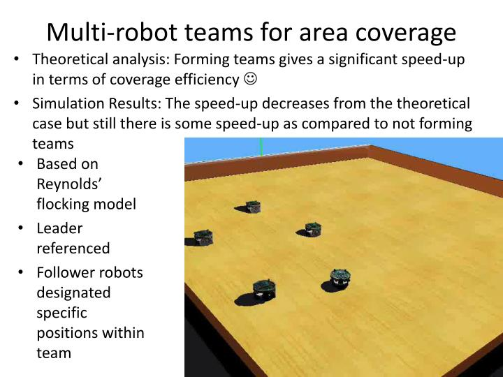 Multi-robot teams for area coverage