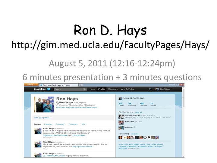 ron d hays http gim med ucla edu facultypages hays n.