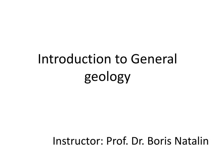 introduction to general geology n.