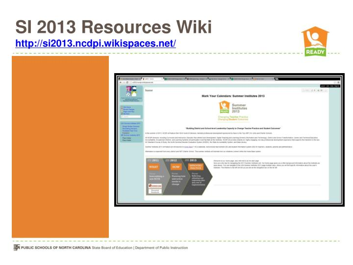 SI 2013 Resources