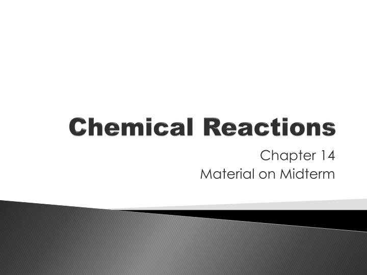 chemical reactions n.