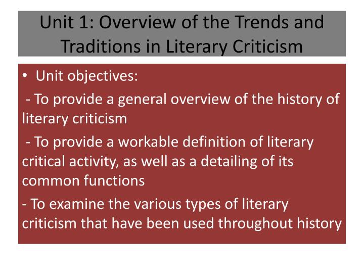 essay on the concept of tradition in modern literary criticism Literary criticism is the study, evaluation, and interpretation of literature modern literary criticism is often informed by literary theory, which is the philosophical discussion of its methods and goals.