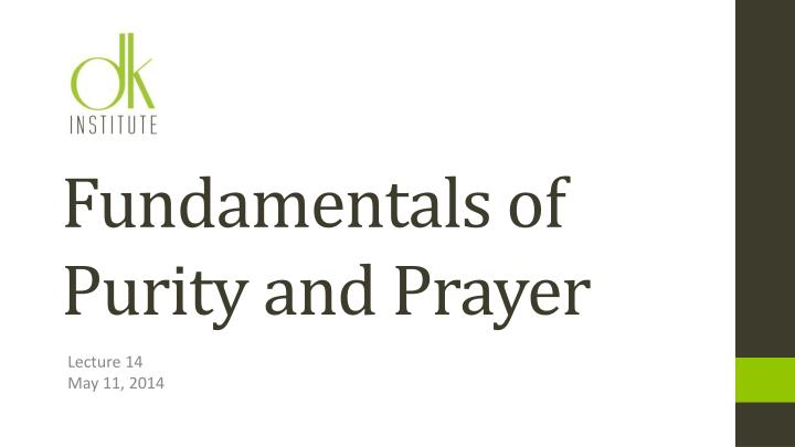 fundamentals of purity and prayer n.