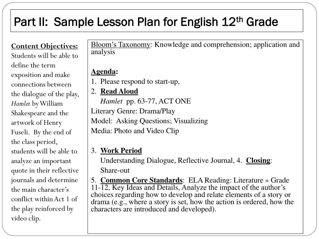 PPT - Technology-Integrated Lesson Plan Secondary Ed, English