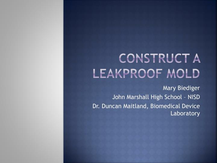 construct a leakproof mold n.