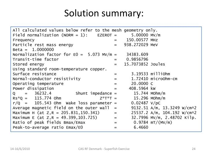 Solution summary: