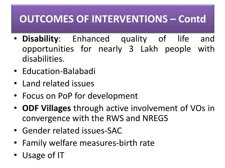 OUTCOMES OF INTERVENTIONS –