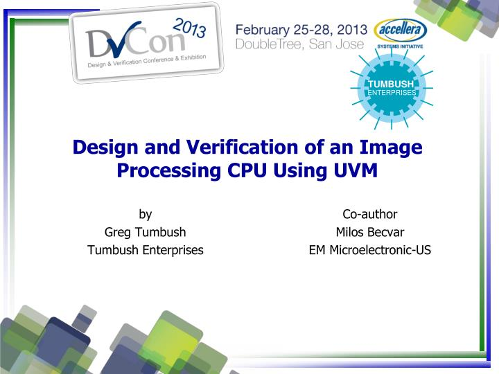 design and verification of an image processing cpu using uvm n.