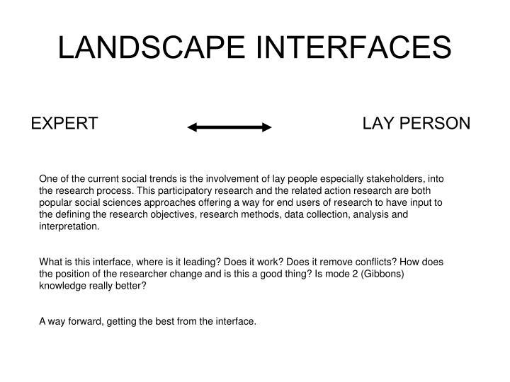 LANDSCAPE INTERFACES