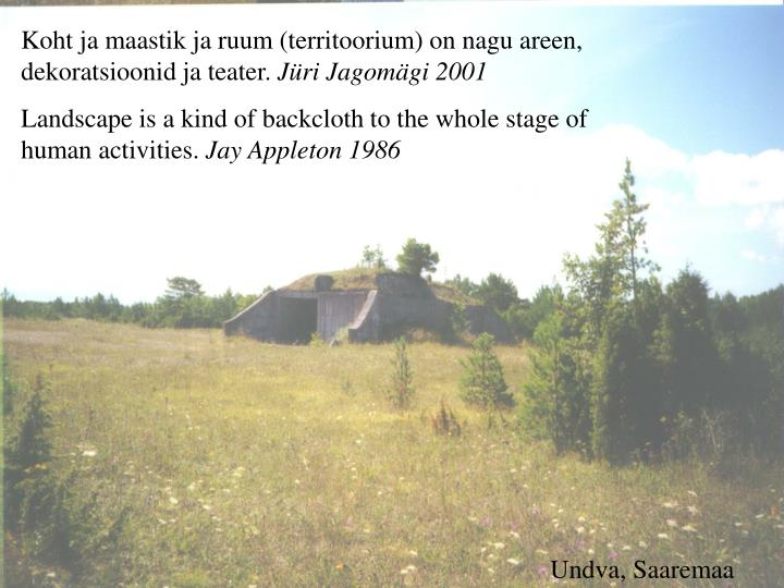 Koht ja maastik ja ruum (territoorium) on nagu areen, dekoratsioonid ja teater.