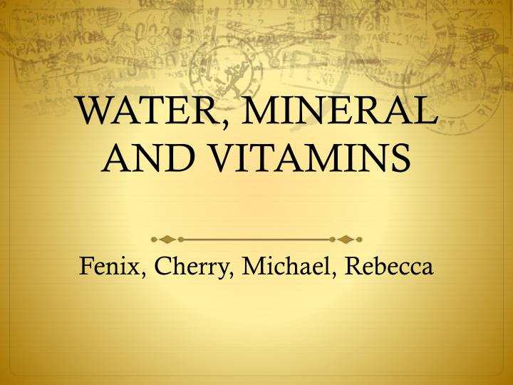 water mineral and vitamins n.
