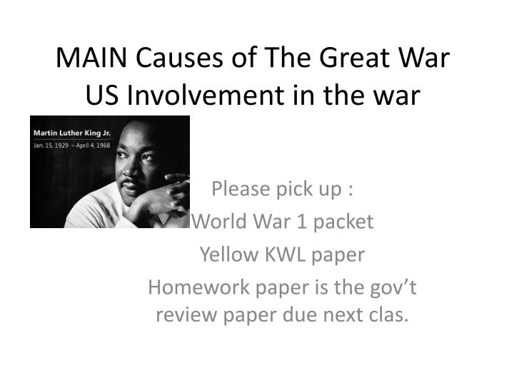 main causes of the great war us involvement in the war n.