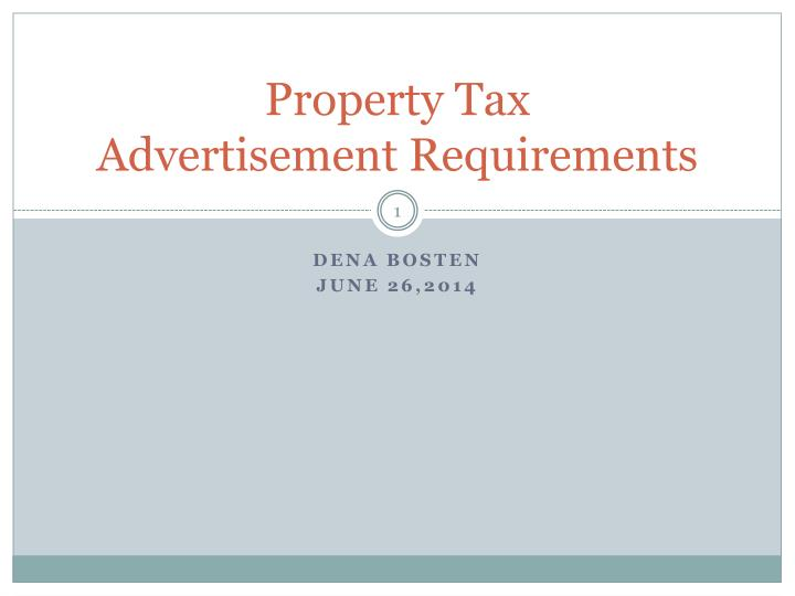 property tax advertisement requirements n.