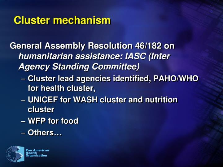Cluster mechanism