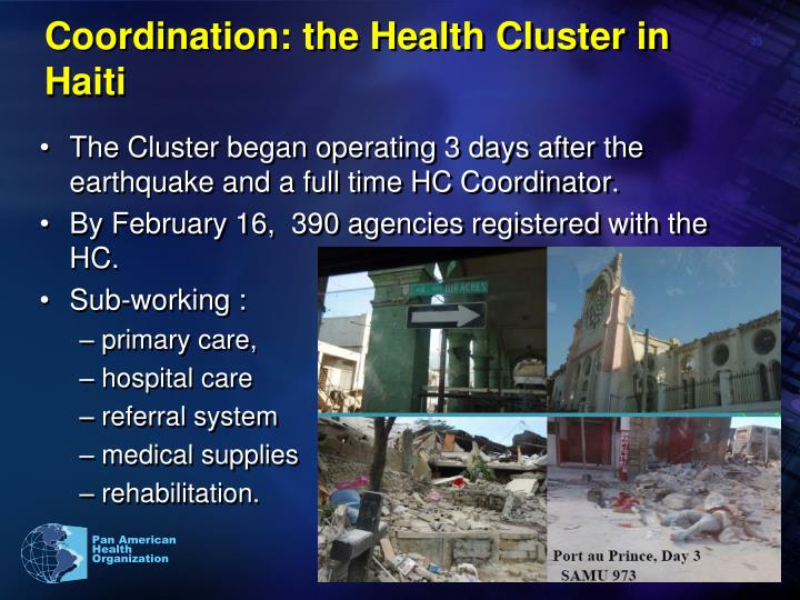 Coordination: the Health Cluster in Haiti