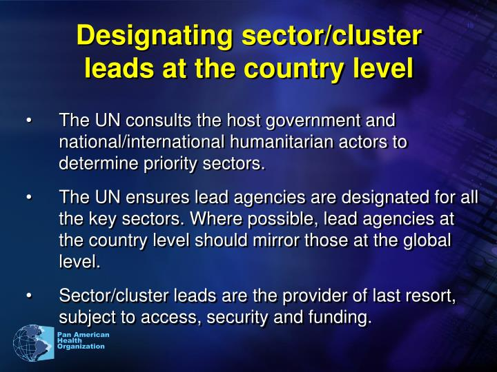 Designating sector/cluster leads at the country level